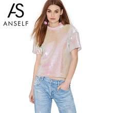 Anself Pink sequin Top mujeres casual sequined camiseta o Masajeadores de  cuello manga corta hombro caído traje camiseta femenin. b2897b0bb10