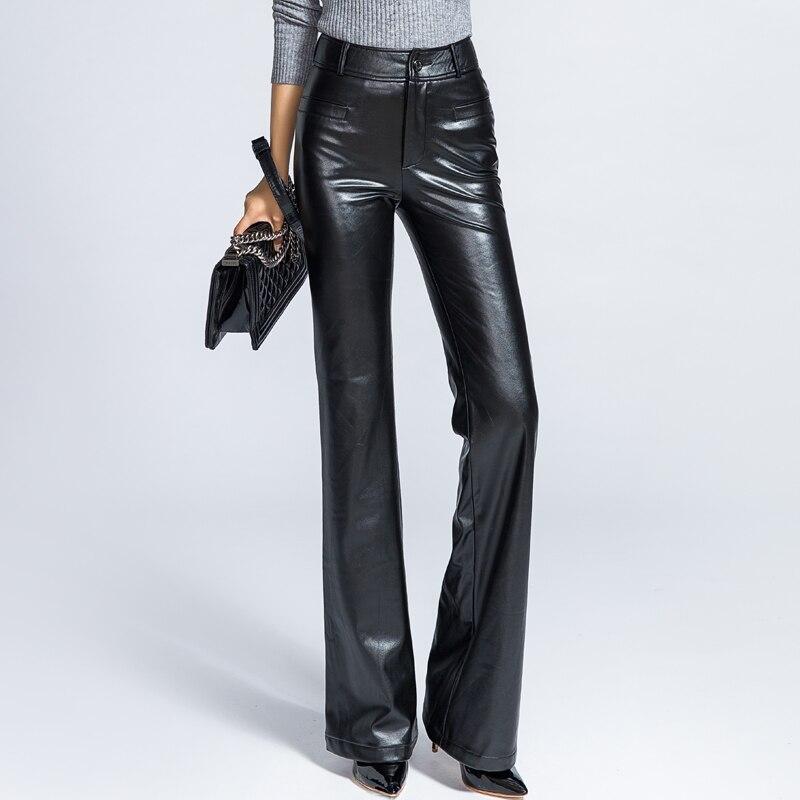 ce62daa1401 New Design Women High Waist Fashion PU Leather Wide Leg Pants Straight Long  Trousers Female Leisure Velvet Black Pants-in Pants   Capris from Women s  ...