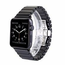 Nuevo de alta calidad negro blanco de cerámica brillante reloj de la correa para apple watch iwatch 38mm 42mm enlace pulsera de la mariposa de la hebilla