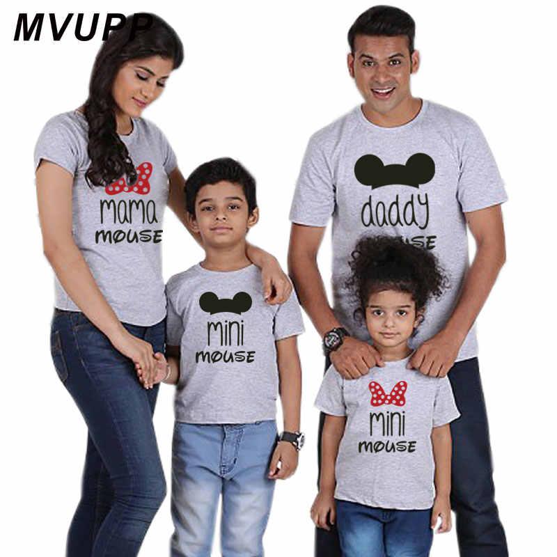 Maglietta Famiglia Mini Mouse Del Fumetto Papà Mamma E Me Vestiti Mama Ragazza Padre Madre Figlio Figlia Archi di Corrispondenza Abiti look Nmd