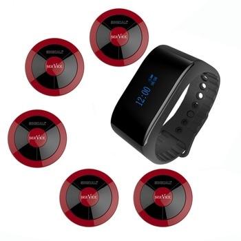 Singcall pager sistema de chamada 1 ape6900 novo à prova d' água receptor e 5 botões de chamada para o restaurante de serviço local de entretenimento
