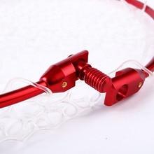 Sougayilang Retractable Fishing Brail Net Red Soft Rubber Fly Fishing Landing Net 65x40x27cm Large Mesh Hand Dip Net