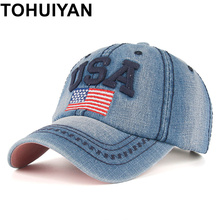 TOHUIYAN USA Flag Embroidery Caps For Men Women Retro Denim Baseball Ca