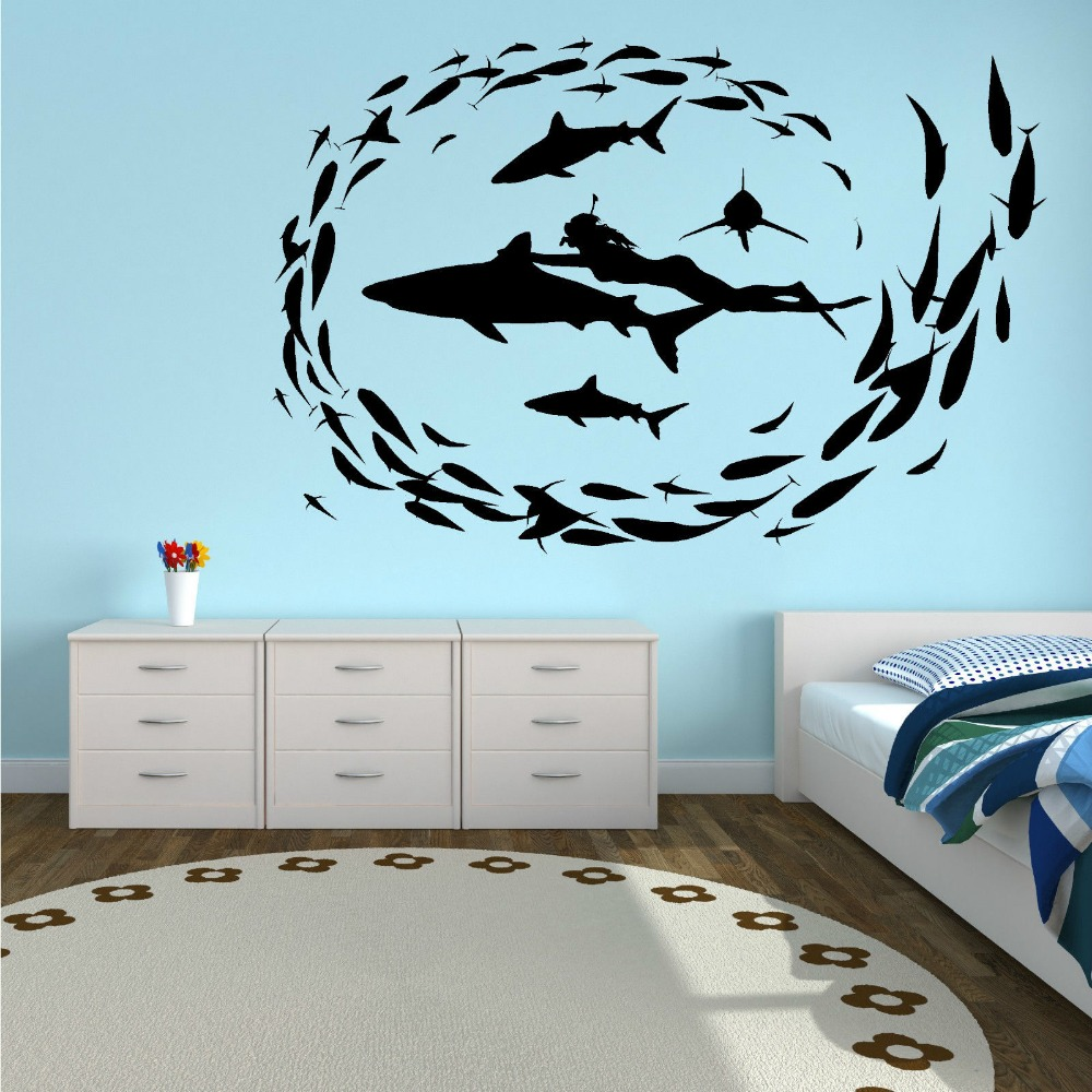 Shark diving fish sea diver sharks vinyl wall art sticker for Diving and fishing mural