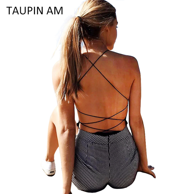 TAUPIN AM Sexy Lace Up Black Bodysuit 2017 New Sleeveless Bandage Jumpsuits Bodycon Backless Summer Romper Body Suit Overalls