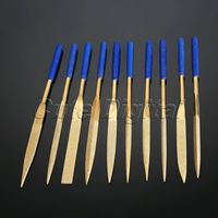 10Pcs 180x5mm Titanium Diamond Coated Needle File Set Sharpening Jeweler Diamond Gringding Carving Repair Craft Hand
