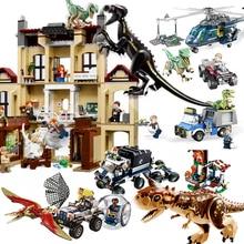 Compatible Legoing Jurassic World Dinosaurs 2 Sets Fallen Kingdom Indoraptor Building Blocks Bricks Blue T Rex Dinos