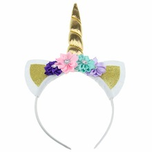 Girls' Unicorn Floral Glitter Hairband