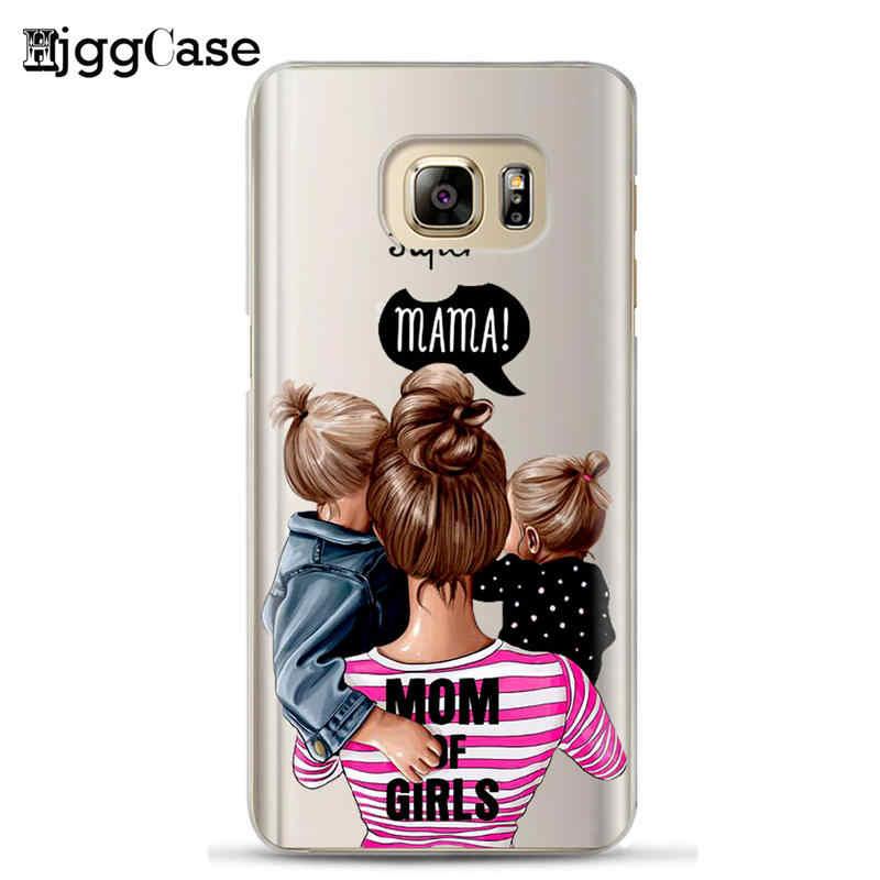 ファッション黒茶色の髪赤ちゃんのママガールの女王 01 サムスンギャラクシー S7 S8 S9 S10 A6 A8 プラス 2018 シリコーンの女性電話カバー