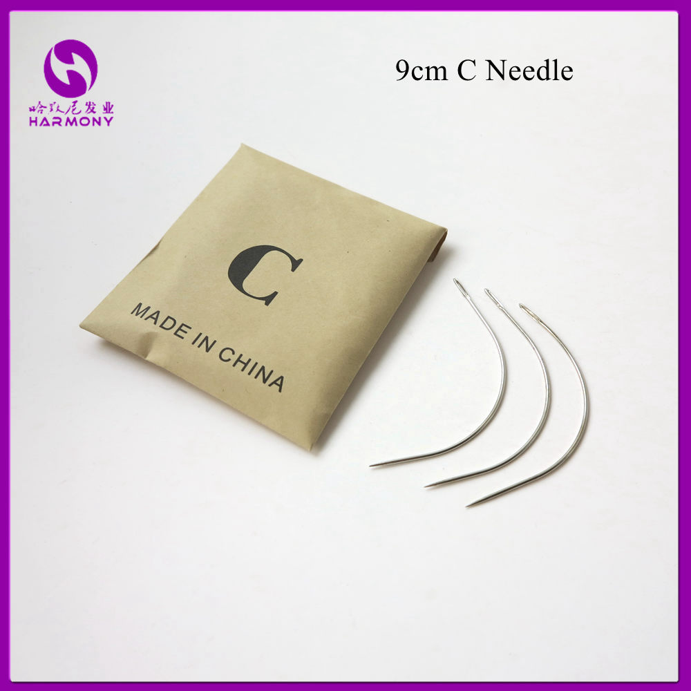 1 bag 144pcs 9CM C Shape Curved Needles Threader Sewing/Weaving Needles for Human Hair Extension Weft Weaving ...