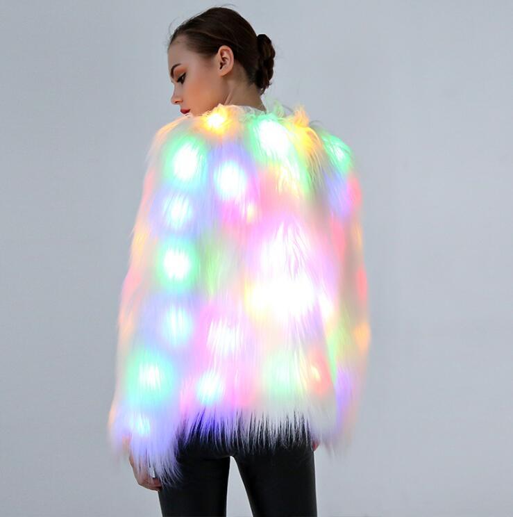 New LED Coat Stage Female Cosplay Costumes LED Luminous Clothes Women Jacket Bar Dance Show Faux Fur Coats Nightclub Christmas