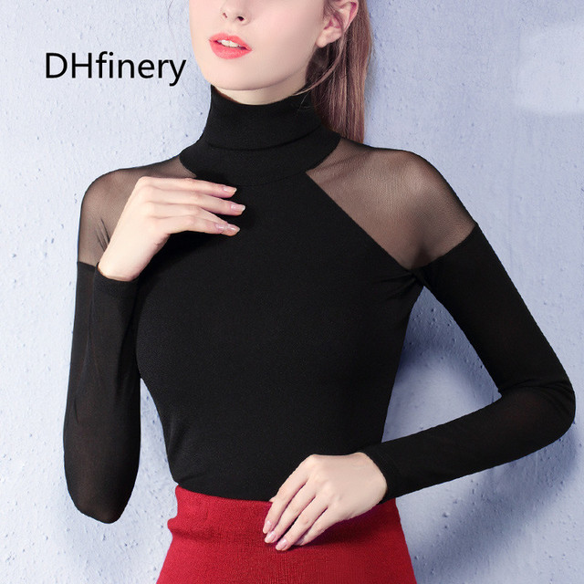 DHfinery women spring autumn gauze turtleneck full sleeve sexy strapless lace top t-shirt white gray wine red/Pink tops sg26113