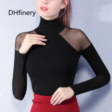 DHfinery women spring autumn gauze turtleneck full sleeve sexy strapless lace top t-shirt white gray wine red/Pink tops sg26113(China)