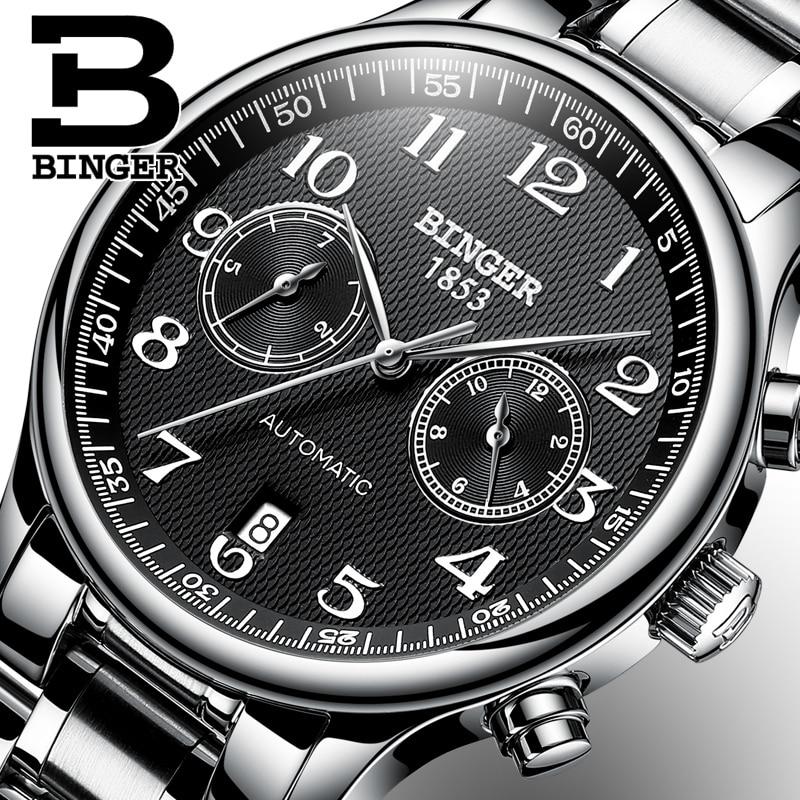 Switzerland Automatic Mechanical Men Watch Sapphire Binger Luxury Brand Watches Male Relogio Waterproof Men s Watches