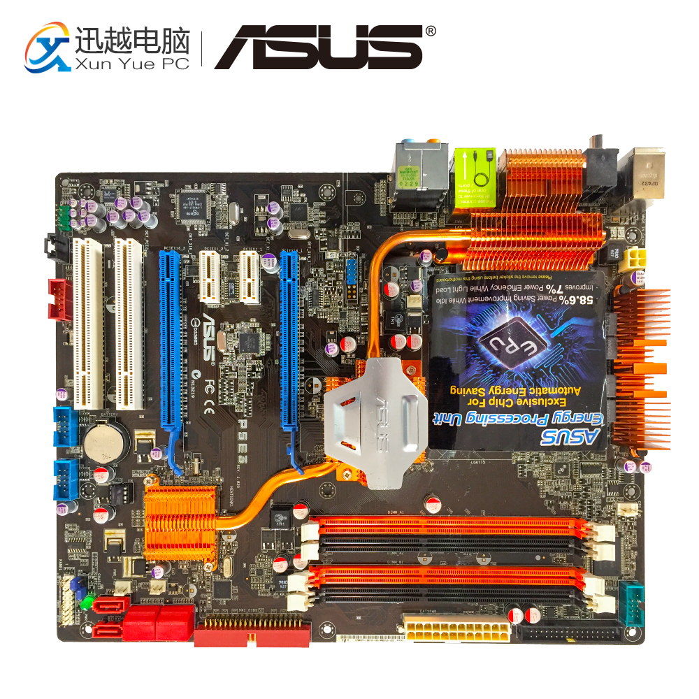 Asus P5E3 Desktop Motherboard Intel X38 LGA 775 DDR3 1333 USB2.0 ATX intel g45 atx lga 775 ddr3 computer motherboard blue silver