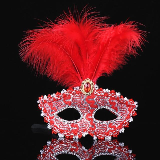 1PC צבע פרימיום עור נוצת מסכת Masquerade מסיבות ליל כל הקדושים קרנבל מסכות שמלת תלבושות ליידי מתנות מסיבת מסכות