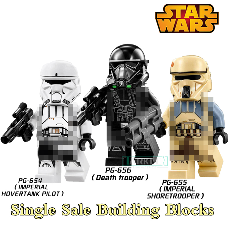 PG654 Star Wars Imperial Death Trooper Imperial Hovertank Pilot Shoretrooper Figures Super Heroes Building Blocks Kids DIY Toys 3pcs set imperial hovertank pilot death trooper shoretrooper diy figures starwars superheroes building blocks new kids toys xmas