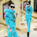 2016 Fashion Autumn & Winter Women's Suit Cute YOU Letter Print Thick Worm Sweatshirt & Long Pants Tracksuit Casual 2 Piece Set