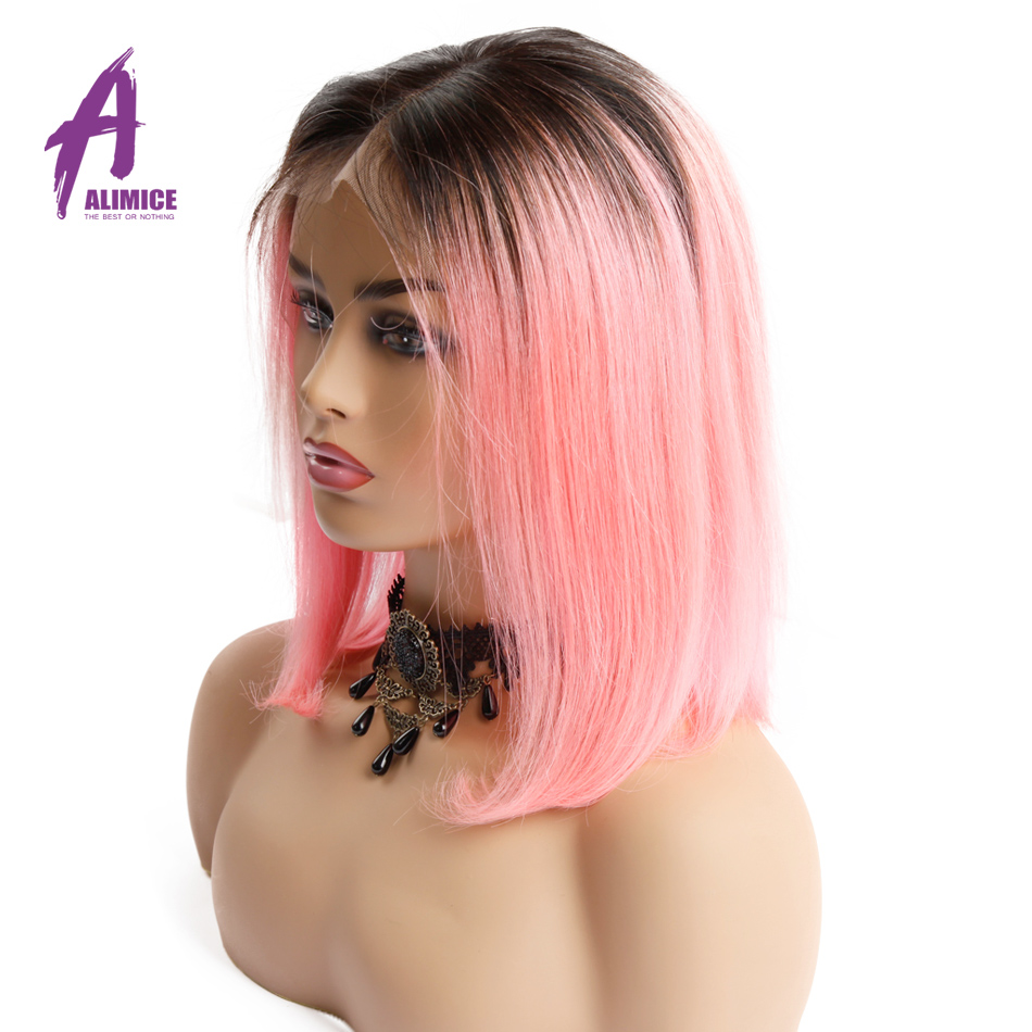 Ombre Pink Bob Lace Wig Short Straight Lace Frontal Brazilian Human Hair Wigs 150 Density Alimice