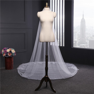 Image 4 - Voile Mariage 4M One Layer Lace Edge White Ivory Cathedral Wedding Veil Long Bridal Veil Cheap Wedding Accessories Veu de Noiva