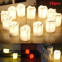12 PCS LED Flameless Candle Tealight Romantic Wedding Party Christmas Home Decoration  Electric Candles Lights led candles remote control electronic flameless breathing candle lights wedding party christmas decoration