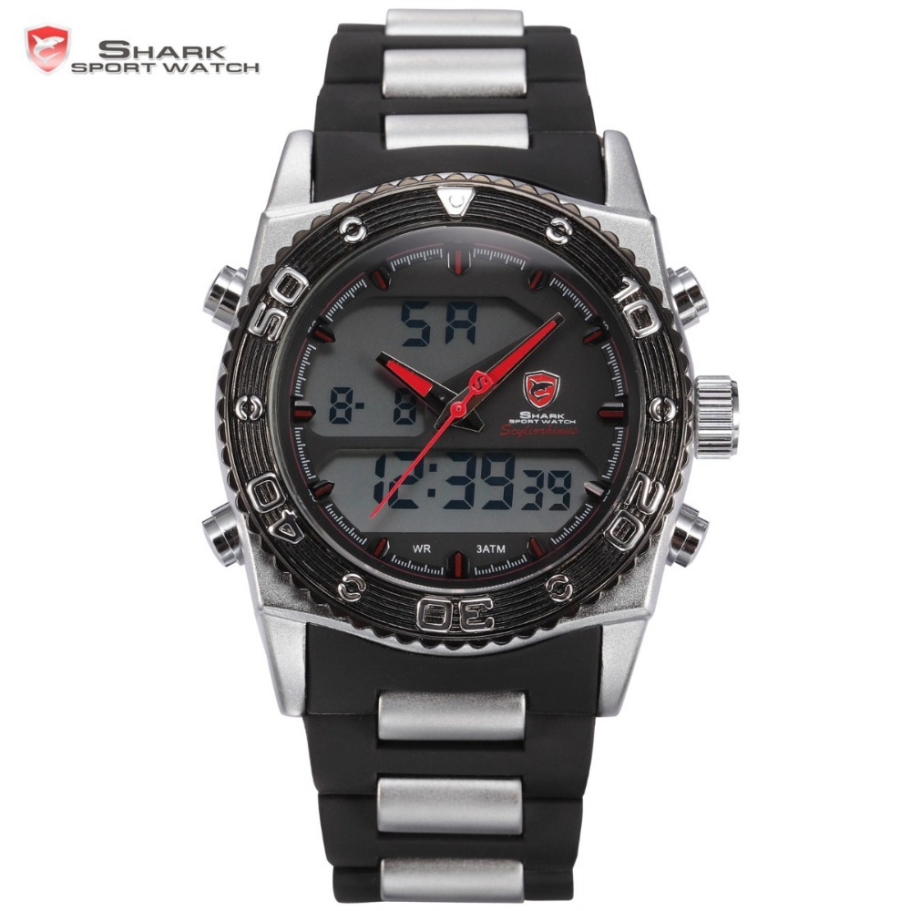 Shark Sport Watch Analog Alarm Auto Date Casual Cycling LED Outdoor Relogio Masculino Orologio Men Quartz Digital Clock / SH175 top brand luxury digital led analog date alarm stainless steel white dial wrist shark sport watch quartz men for gift sh004