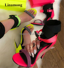 Hottest Women New Fashion Open Toe Patchwork Stiletto Heel Gladiator Sandals Ankle Wrap Buckles Neon Yellow High Heels