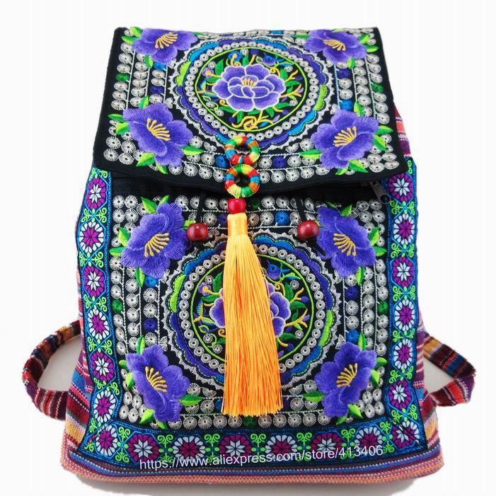 Tribal Vintage Hmong Thai Indian Ethnic Boho hippie ethnic bag, rucksack backpack bag SYS-174 free shipping vintage hmong tribal ethnic thai indian boho shoulder bag message bag pu leather handmade embroidery tapestry 1018