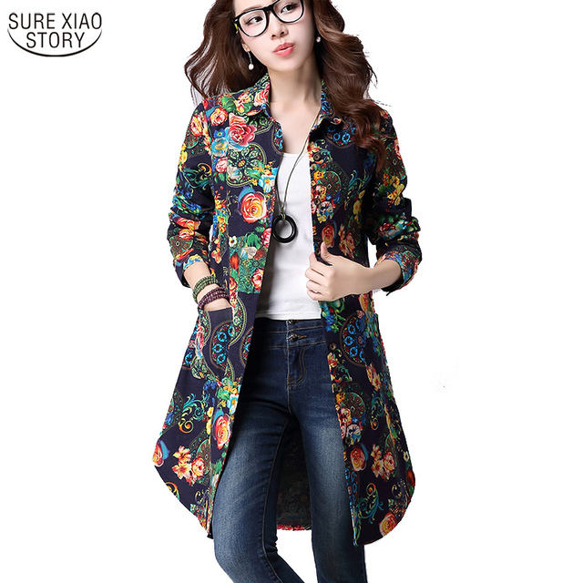 New 2016 Women Blouses Fashion Flannel Vintage Brand Long Sleeve Loose Print Casual Woman Shirts Women Plus Size Tops 992A 25
