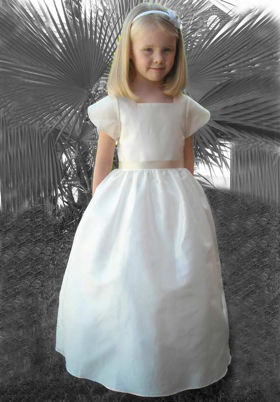 Long White Flower Girls Dresses For Wedding Gowns Fashion Girl Birthday Party Dress Ankle-Length Mother Daughter Dresses new white ivory nice spaghetti straps sequined knee length a line flower girl dress beautiful square collar birthday party gowns