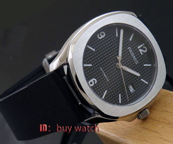 40mm parnis black dial automatic date square case rubber strap mens watch 175 40mm parnis black dial date widnow stainless steel strap vintage automatic movement mens watch p24