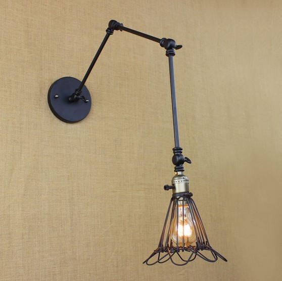 Loft Style Swing Arm Wall Sconce Bedside Wall Lamp Edison Industrial Vintage Wall Light Fixtures For Home Lighting Arandela iddis grandma green 450c580i12