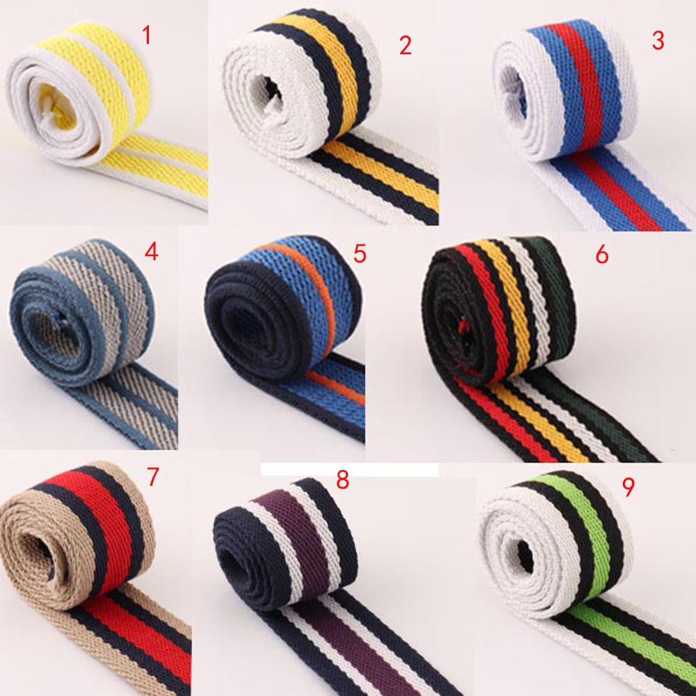 5Yards 38mm Colorful  Webbing Stripe Canvas Cotton/polyester Tape Bag Straps Belt Key Fobs Bag Garment Accessories