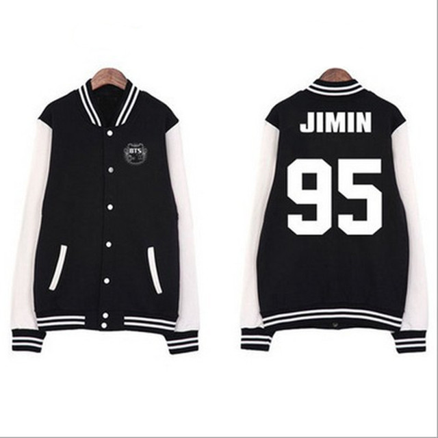 Kpop BTS Bangtan Boys Jin Jimin V Suga Women Basic Coats Hoodies Sweatshirts Autumn Spring Jacket Outerwears Bomber Jacket C2186