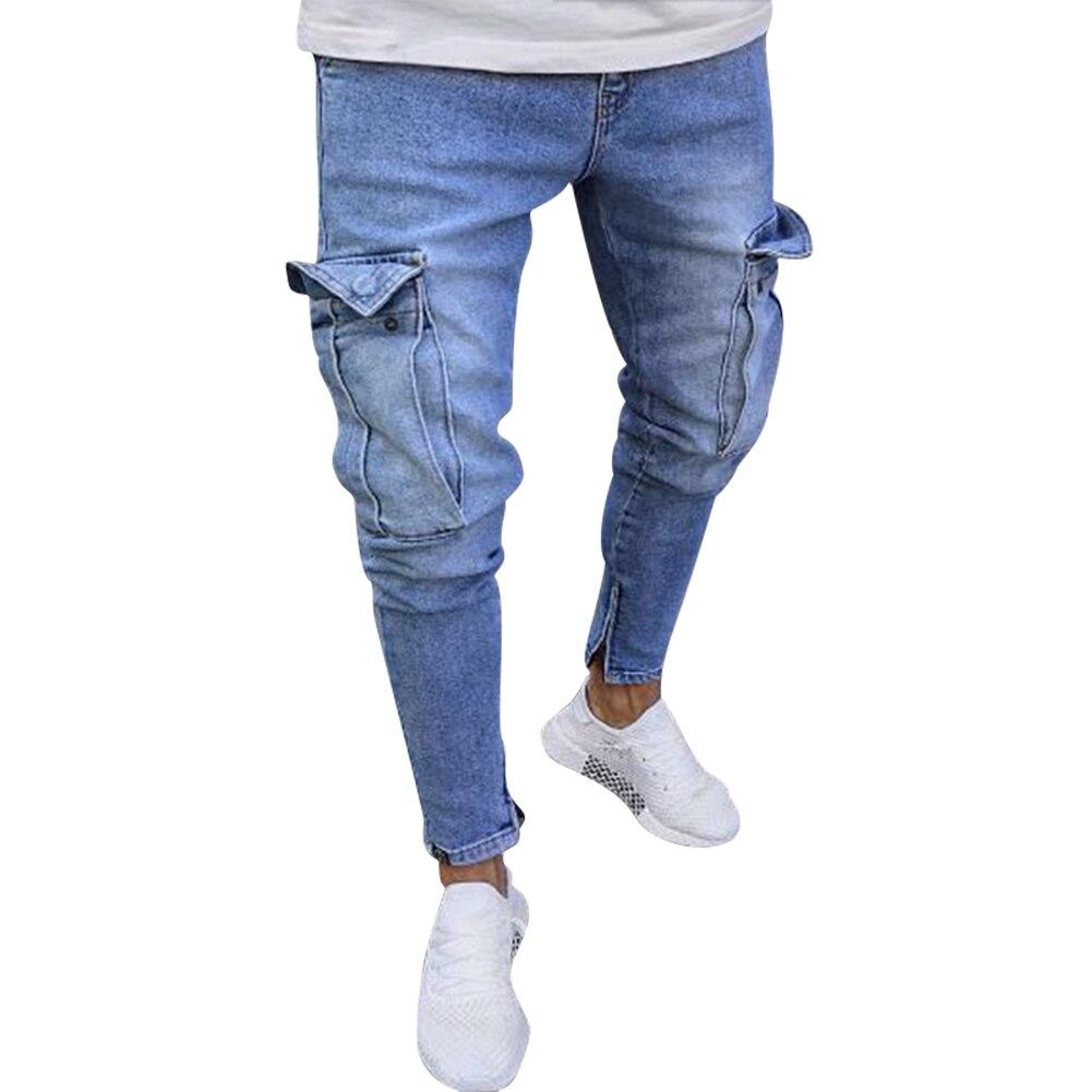 Goedkope heren jeans met zakken op kniehoogte - Kleuren Lichtblauw en nostalgisch blauw - Maat: S, M, L, XL, XXL, XXXL, 4XL - Nu verkrijgbaar in onze webshop