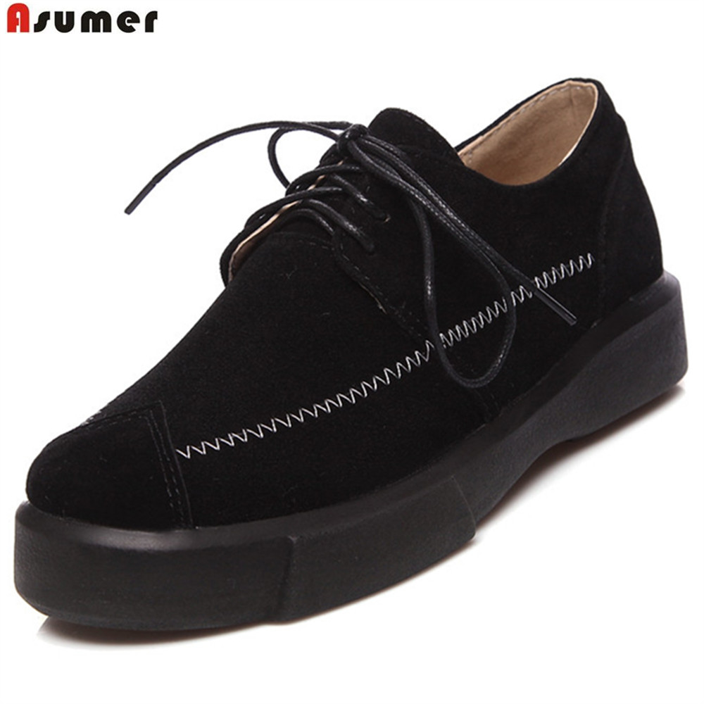 ASUMER black apricot army green fashion spring autumn new ladies shoes big size 34-43 round toe lace up women flat shoes asumer black white fashion spring autumn casual ladies flat platform shoes round toe lace up genuine leather flat shoes women