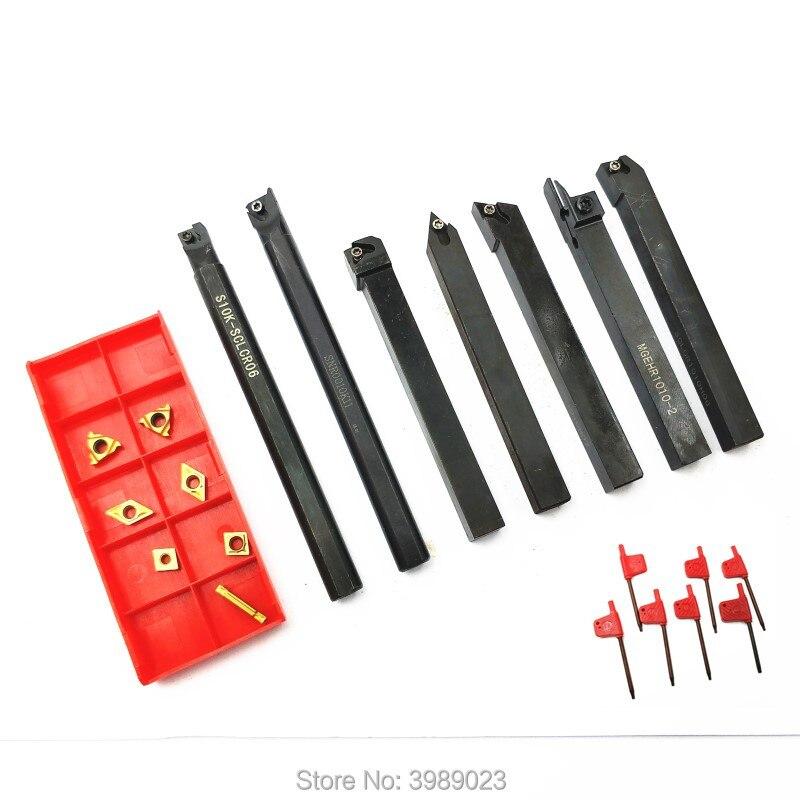 7 10mm barres à outils + 7 inserts en or et CNC clés en bois/SER1010H11 DCMT070204 CCMT060204 MGHER1010-2 SDJCR1010H07