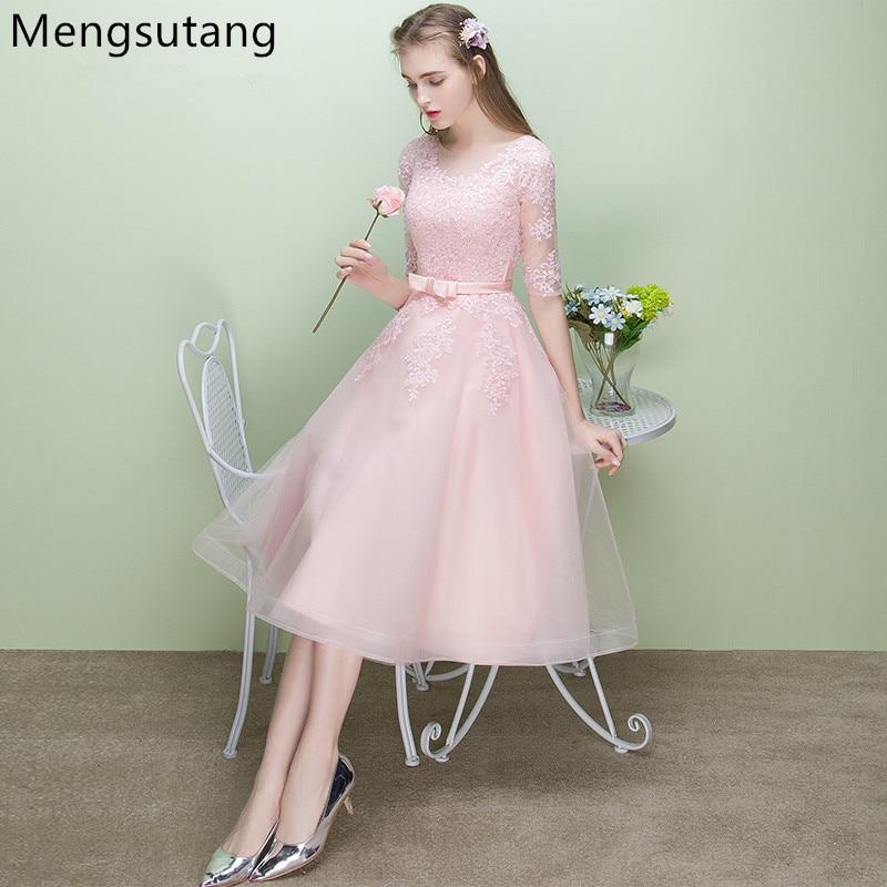 Robe De Soiree 2019 New Arrival Pink Elegant Party Dress Evening Dresses Vestido De Festa Luxury Satin Gown Scoop Neck Appliques