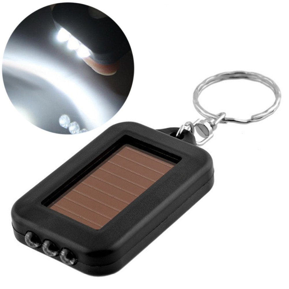 Mayitr Mini Portable Solar Power Rechargeable 3 LED Keychain Torch Light Flashlight Lightweight Solar Small Flashlight Style