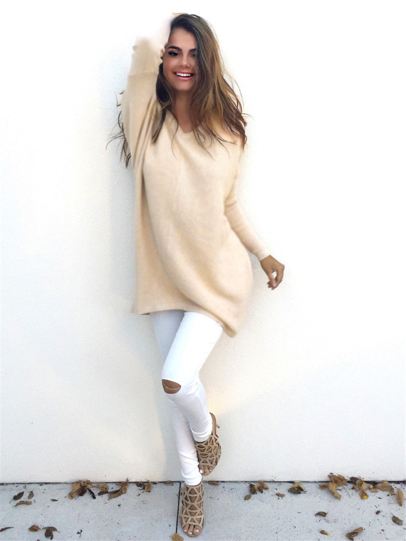 7 Colors 4 Sizes Women Long Sweaters 2016 Fall Winter Fashion V-neck Solid Casual Loose Pullovers Ladies Plush Sweaters