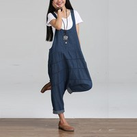 2017 קיץ סתיו Rompers נשים סרבלי סרבלי סטרפלס בציר שרוולים מוצקות Dungaree Playsuits הארוך מכנסיים צפצף