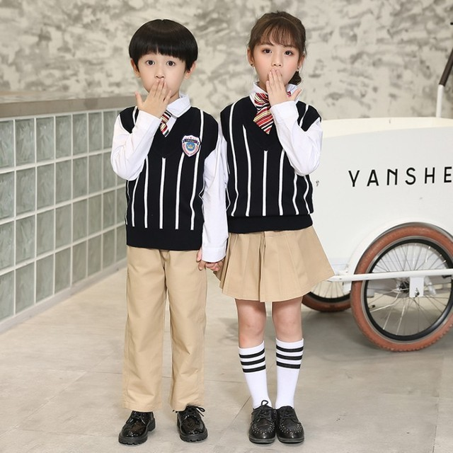 Kaizefus Size 90-180cm Kindergarten School Uniform Spring and Autumn British Academy Style Class Clothing Set