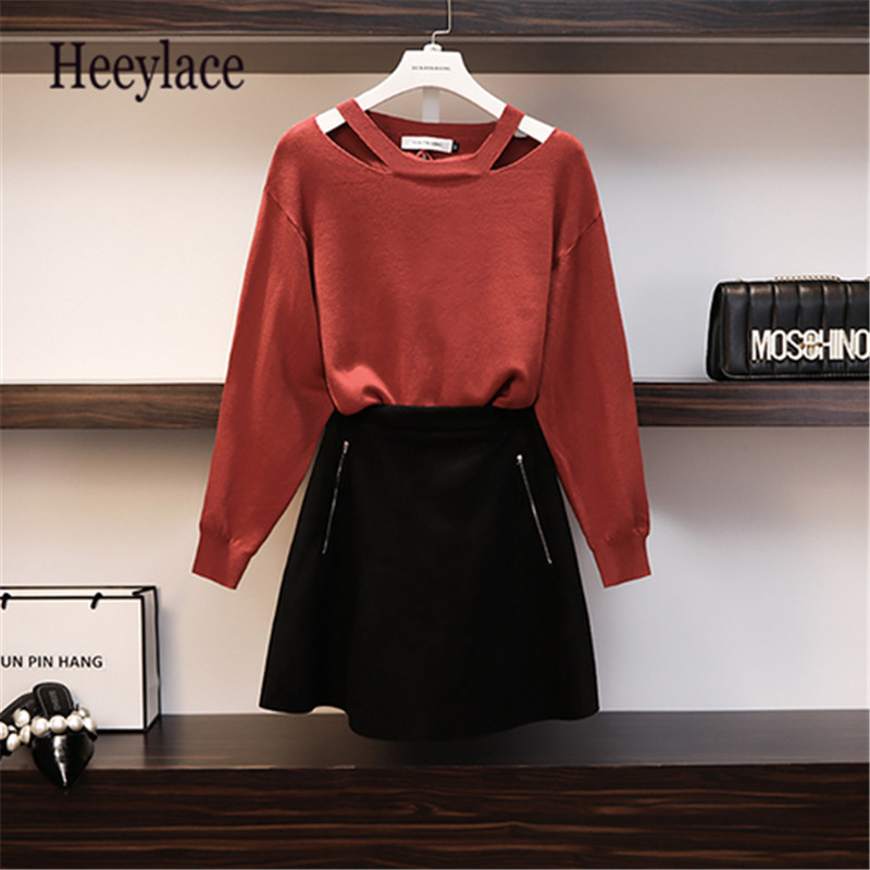 Plus Size 2 Piece Set For Women 2019 New Summer Autumn Long Sleeve Knitted Sweater+Leather Suspender Mini Skirt Girls Set 5XL