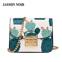 Brand Designer Women Messenger Bag Summer Fresh Lady Flower Printing Chain Shoulder Bag Cute Cactus Crossbody Bag for Teen Girls