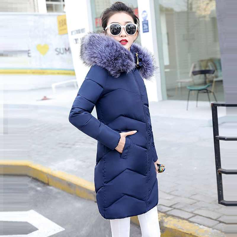 Grote Bontkraag Parka Vrouwen Winter Jassen Mid-Lange dikke Sneeuw Wear Winter Jas Vrouwelijke Jassen Warm Gewatteerd jaqueta corta vento