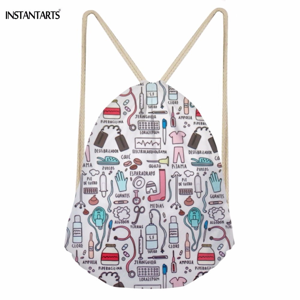 INSTANTARTS Fashion Cartoon Nurse 3D Printing Drawstring Bags For Teen Girls Softback Large Students Backpack Storage Beach Bags