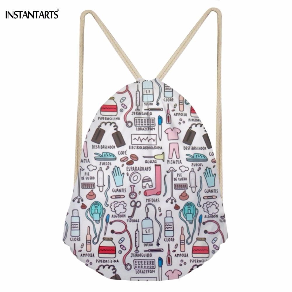 INSTANTARTS Fashion Cartoon Nurse 3D Printing Drawstring Bags For Teen Girls Softback Large Students Backpack Storage Beach Bags