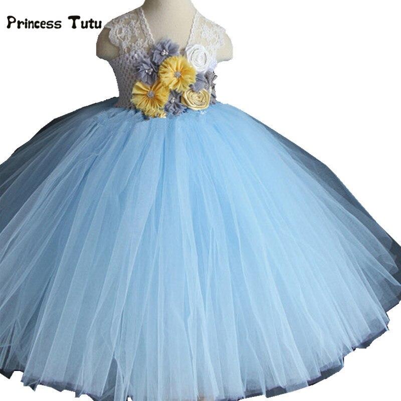 Light Blue Girls Dress Tulle Flower Girl Dress Party Wedding Gowns Girls Kids Pageant Performance Birthday Princess Tutu Dress