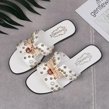 Summer women Walking shoes Sneakers Sandals Brand Crystal Metal Bee Pearl String Slippers Flat Heel Female Slides 2018 new