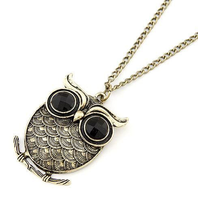 2013 the latest fashion retro bronze lovely owl  sweater long necklace for women